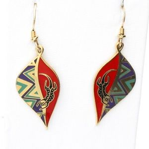 Vintage Laurel Burch Leaf Lizard Dangle Earrings